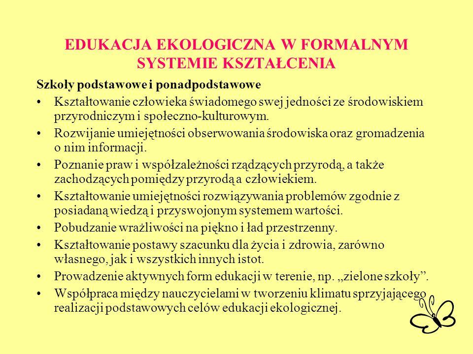 EDUKACJA EKOLOGICZNA W FORMALNYM SYSTEMIE KSZTAŁCENIA Szkoły podstawowe i ponadpodstawowe Kształtowanie człowieka świadomego swej jedności ze środowis