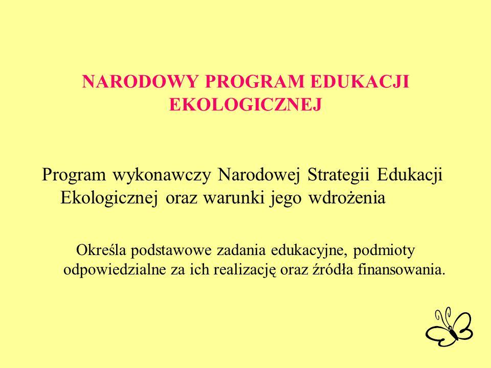 NARODOWY PROGRAM EDUKACJI EKOLOGICZNEJ Program wykonawczy Narodowej Strategii Edukacji Ekologicznej oraz warunki jego wdrożenia Określa podstawowe zad