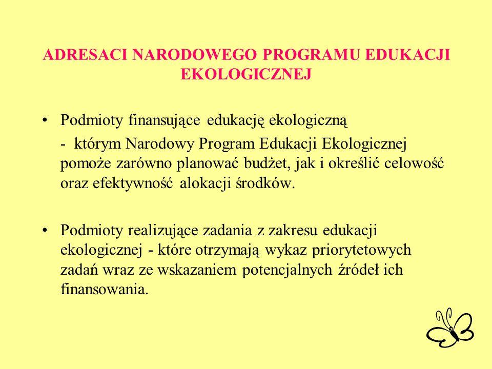 ADRESACI NARODOWEGO PROGRAMU EDUKACJI EKOLOGICZNEJ Podmioty finansujące edukację ekologiczną - którym Narodowy Program Edukacji Ekologicznej pomoże za