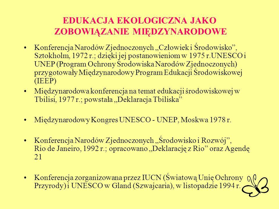 EDUKACJA EKOLOGICZNA JAKO ZOBOWIĄZANIE MIĘDZYNARODOWE Konferencja Narodów Zjednoczonych Człowiek i Środowisko, Sztokholm, 1972 r.; dzięki jej postanow