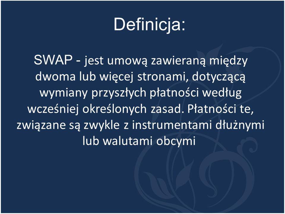 SWAP - jest umową zawieraną między dwoma lub więcej stronami, dotyczącą wymiany przyszłych płatności według wcześniej określonych zasad.