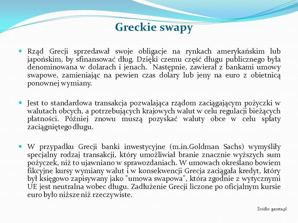 Greckie swapy Rząd Grecji sprzedawał swoje obligacje na rynkach amerykańskim lub japońskim, by sfinansować dług. Dzięki czemu część długu publicznego