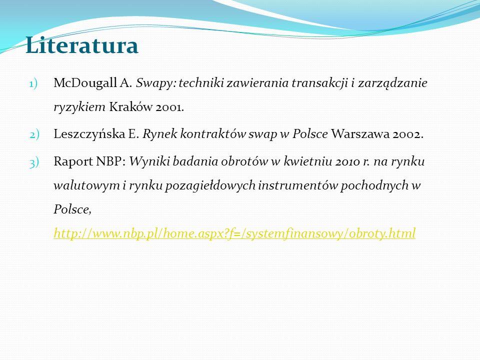 Literatura 1) McDougall A. Swapy: techniki zawierania transakcji i zarządzanie ryzykiem Kraków 2001. 2) Leszczyńska E. Rynek kontraktów swap w Polsce
