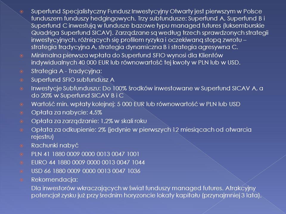 Superfund Specjalistyczny Fundusz Inwestycyjny Otwarty jest pierwszym w Polsce funduszem funduszy hedgingowych. Trzy subfundusze: Superfund A, Superfu