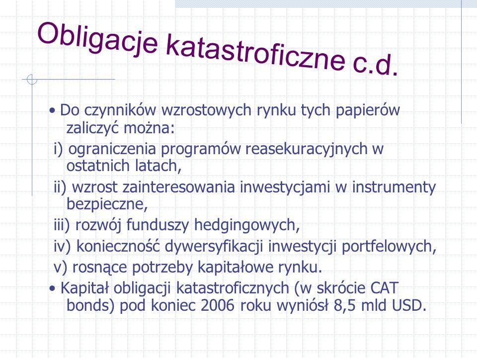 Obligacje katastroficzne c.d. Do czynników wzrostowych rynku tych papierów zaliczyć można: i) ograniczenia programów reasekuracyjnych w ostatnich lata