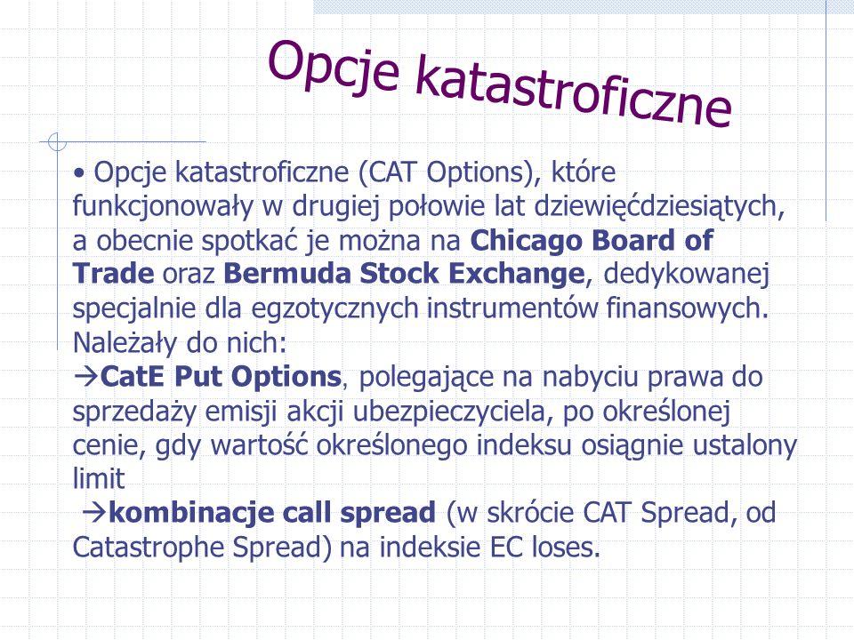 Opcje katastroficzne Opcje katastroficzne (CAT Options), które funkcjonowały w drugiej połowie lat dziewięćdziesiątych, a obecnie spotkać je można na