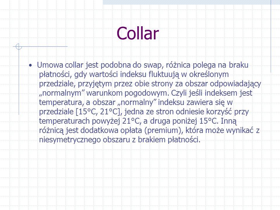 Collar Umowa collar jest podobna do swap, różnica polega na braku płatności, gdy wartości indeksu fluktuują w określonym przedziale, przyjętym przez o
