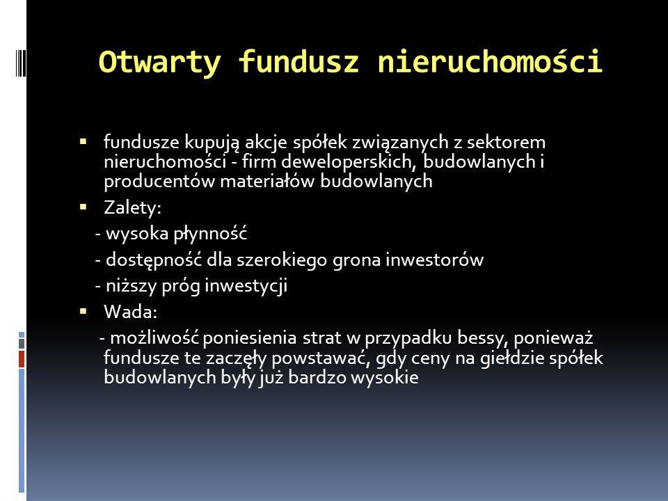 Otwarty fundusz nieruchomości fundusze kupują akcje spółek związanych z sektorem nieruchomości - firm deweloperskich, budowlanych i producentów materi