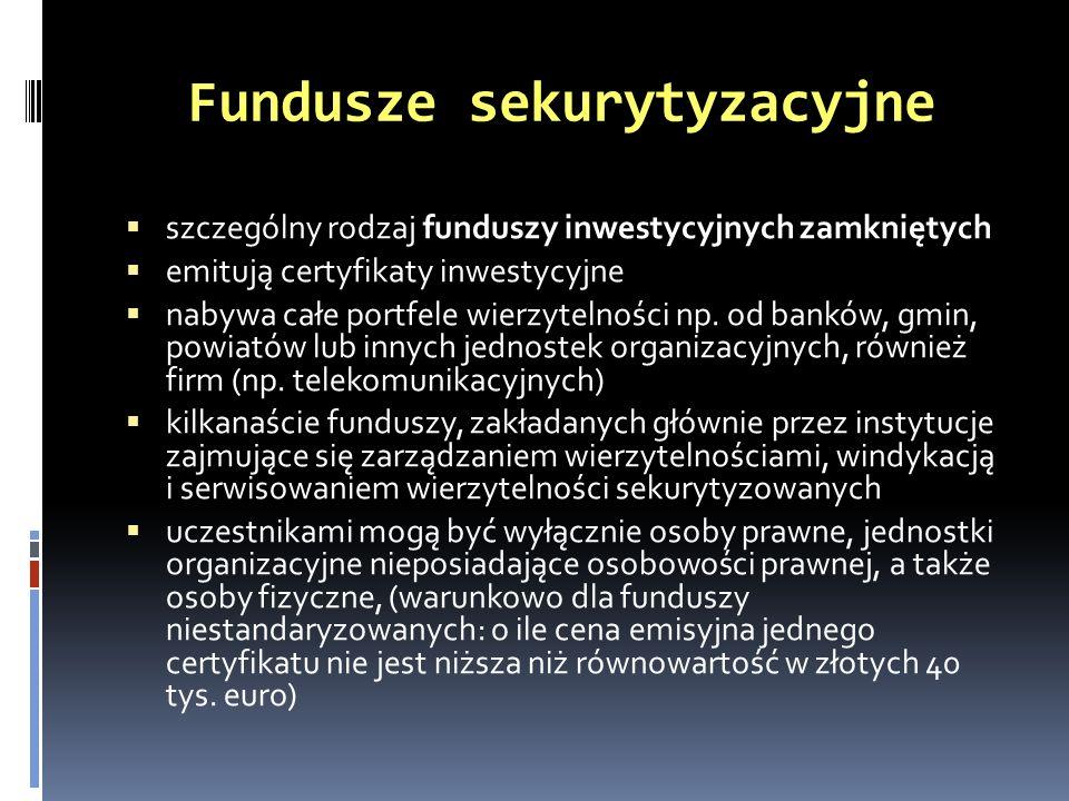 Fundusze sekurytyzacyjne szczególny rodzaj funduszy inwestycyjnych zamkniętych emitują certyfikaty inwestycyjne nabywa całe portfele wierzytelności np