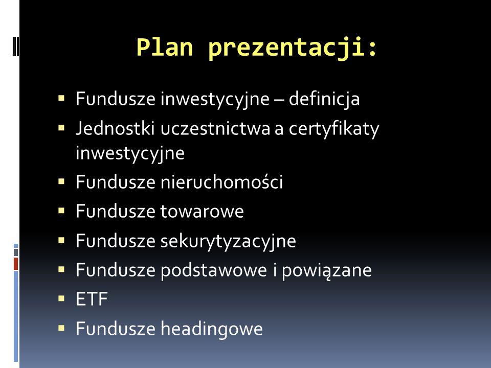 Plan prezentacji: Fundusze inwestycyjne – definicja Jednostki uczestnictwa a certyfikaty inwestycyjne Fundusze nieruchomości Fundusze towarowe Fundusz