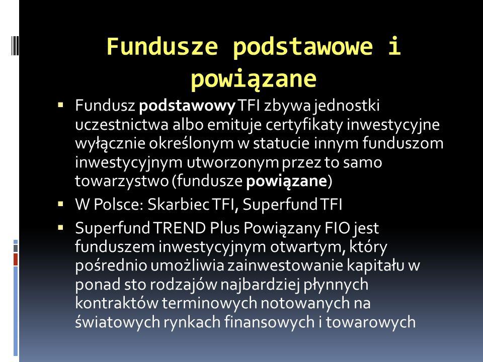 Fundusze podstawowe i powiązane Fundusz podstawowy TFI zbywa jednostki uczestnictwa albo emituje certyfikaty inwestycyjne wyłącznie określonym w statu