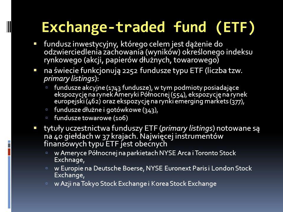 Exchange-traded fund (ETF) fundusz inwestycyjny, którego celem jest dążenie do odzwierciedlenia zachowania (wyników) określonego indeksu rynkowego (ak