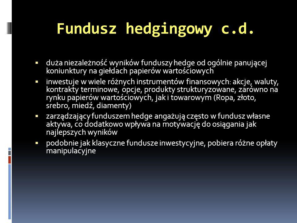 Fundusz hedgingowy c.d. duża niezależność wyników funduszy hedge od ogólnie panującej koniunktury na giełdach papierów wartościowych inwestuje w wiele