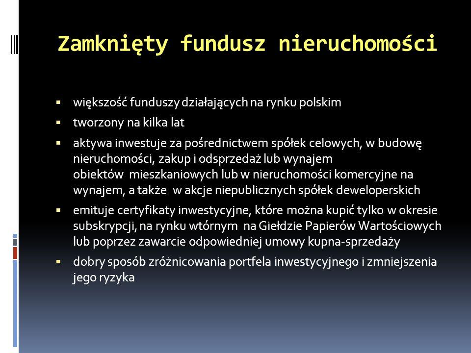 Przykładowe zamknięte fundusze nieruchomości oferowane przez TFI Arka BZ WBK Fundusz Rynku Nieruchomości FIZ BPH FIZ Sektora Nieruchomości Citi Living Polska FIZ Aktywów Niepublicznych (Skarbiec) SKARBIEC-Rynku Mieszkaniowego FIZ SKARBIEC-Rynku Nieruchomości FIZ FIZ Sektora Nieruchomości 2 (Copernicus Capital TFI) ALFA Real Estate FIZ (Copernicus Capital TFI) KBC Index Nieruchomości FIZ KBC Index Nieruchomości II FIZ KBC Index Światowych Nieruchomości FIZ