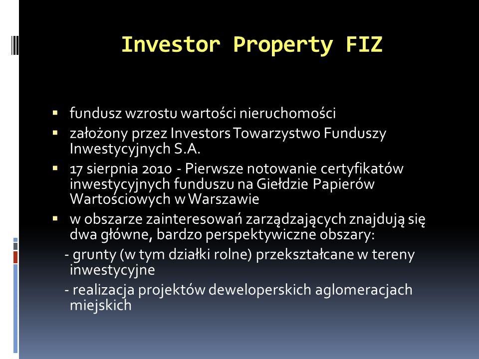 Investor Property FIZ fundusz wzrostu wartości nieruchomości założony przez Investors Towarzystwo Funduszy Inwestycyjnych S.A. 17 sierpnia 2010 - Pier