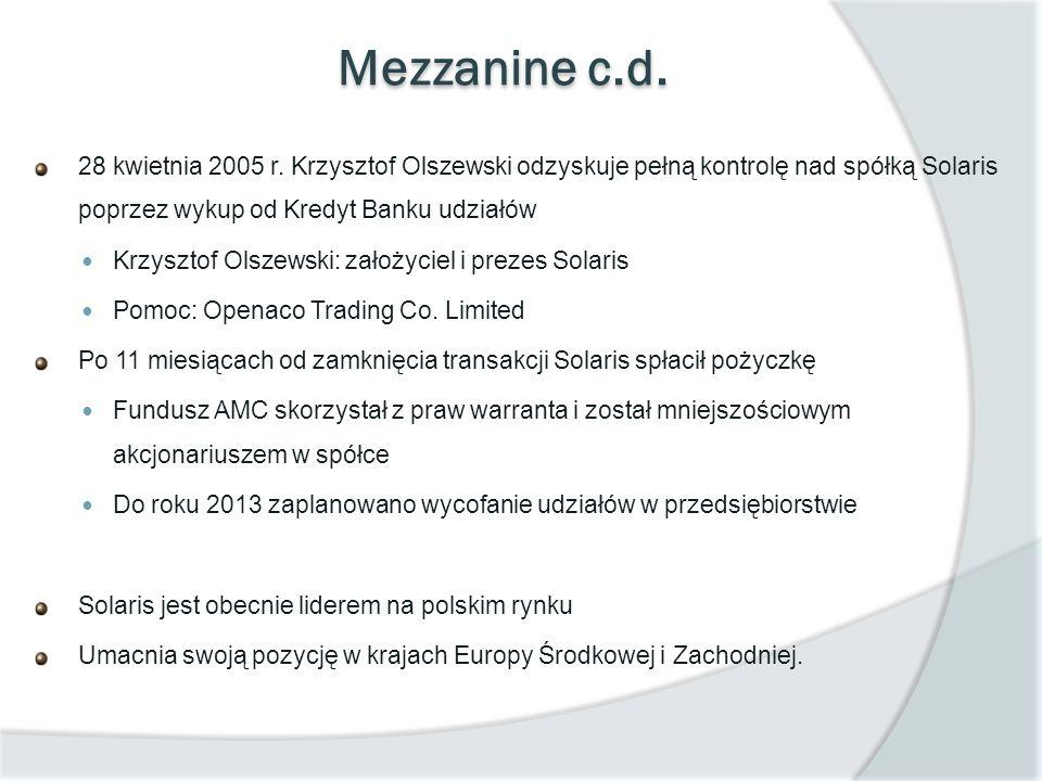 Mezzanine c.d. 28 kwietnia 2005 r. Krzysztof Olszewski odzyskuje pełną kontrolę nad spółką Solaris poprzez wykup od Kredyt Banku udziałów Krzysztof Ol
