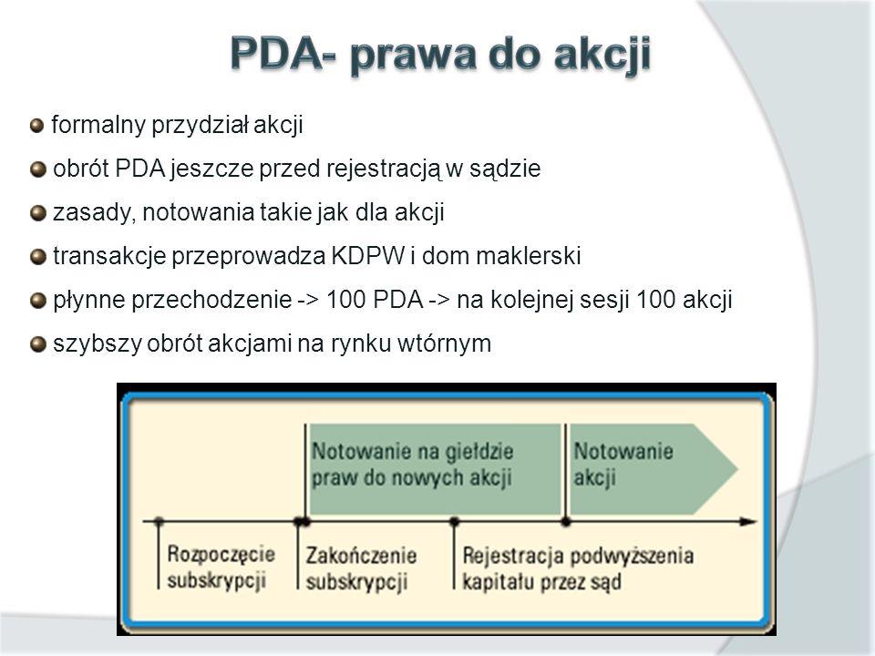 formalny przydział akcji obrót PDA jeszcze przed rejestracją w sądzie zasady, notowania takie jak dla akcji transakcje przeprowadza KDPW i dom maklers