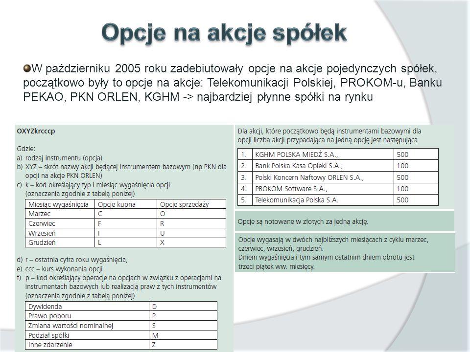 W październiku 2005 roku zadebiutowały opcje na akcje pojedynczych spółek, początkowo były to opcje na akcje: Telekomunikacji Polskiej, PROKOM-u, Bank