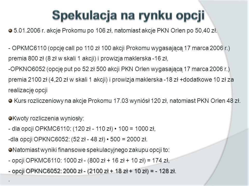 5.01.2006 r. akcje Prokomu po 106 zł, natomiast akcje PKN Orlen po 50,40 zł. - OPKMC6110 (opcję call po 110 zł 100 akcji Prokomu wygasającą 17 marca 2