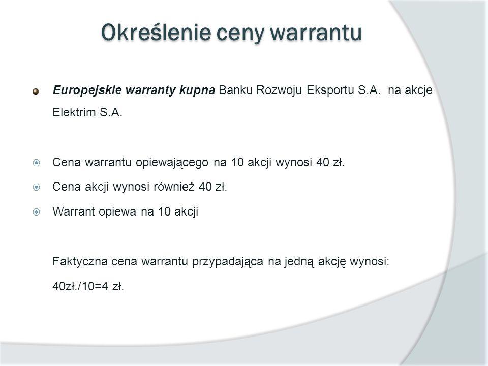 Określenie ceny warrantu Europejskie warranty kupna Banku Rozwoju Eksportu S.A. na akcje Elektrim S.A. Cena warrantu opiewającego na 10 akcji wynosi 4