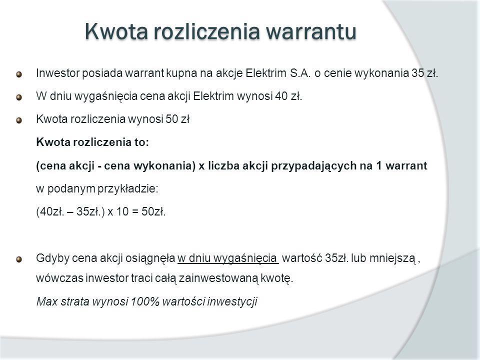 Kwota rozliczenia warrantu Inwestor posiada warrant kupna na akcje Elektrim S.A. o cenie wykonania 35 zł. W dniu wygaśnięcia cena akcji Elektrim wynos