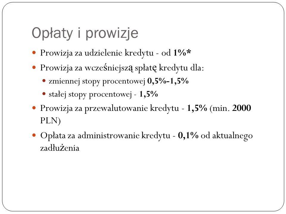 Opłaty i prowizje Prowizja za udzielenie kredytu - od 1%* Prowizja za wcze ś niejsz ą spłat ę kredytu dla: zmiennej stopy procentowej 0,5%-1,5% stałej stopy procentowej - 1,5% Prowizja za przewalutowanie kredytu - 1,5% (min.