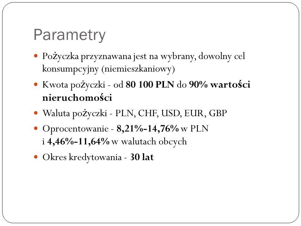 Parametry Po ż yczka przyznawana jest na wybrany, dowolny cel konsumpcyjny (niemieszkaniowy) Kwota po ż yczki - od 80 100 PLN do 90% warto ś ci nieruchomo ś ci Waluta po ż yczki - PLN, CHF, USD, EUR, GBP Oprocentowanie - 8,21%-14,76% w PLN i 4,46%-11,64% w walutach obcych Okres kredytowania - 30 lat