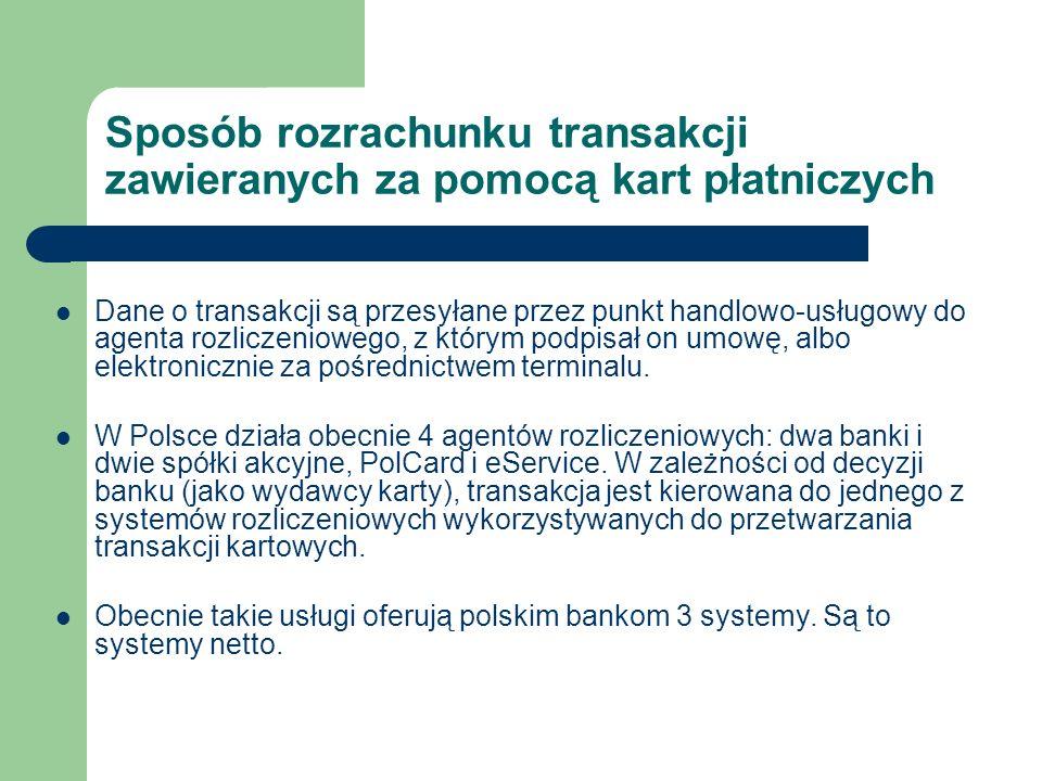 Sposób rozrachunku transakcji zawieranych za pomocą kart płatniczych Dane o transakcji są przesyłane przez punkt handlowo-usługowy do agenta rozliczen