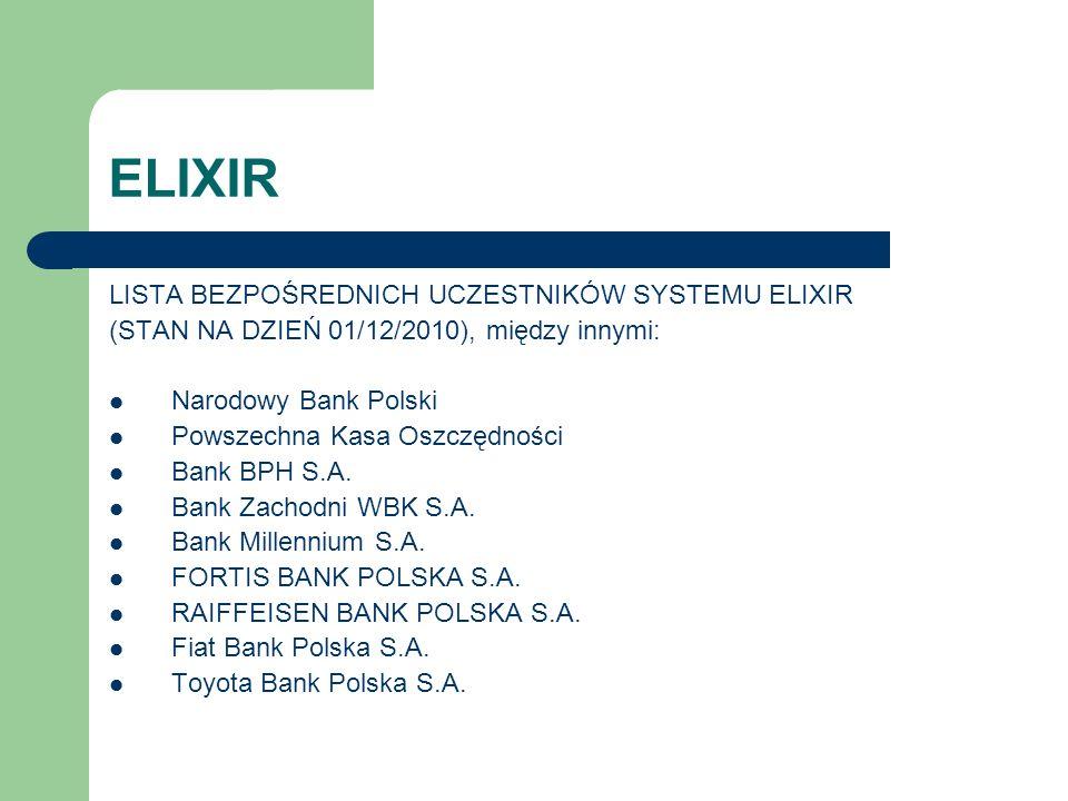 ELIXIR LISTA BEZPOŚREDNICH UCZESTNIKÓW SYSTEMU ELIXIR (STAN NA DZIEŃ 01/12/2010), między innymi: Narodowy Bank Polski Powszechna Kasa Oszczędności Ban