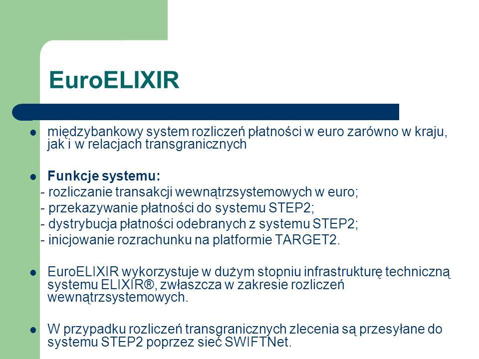EuroELIXIR międzybankowy system rozliczeń płatności w euro zarówno w kraju, jak i w relacjach transgranicznych Funkcje systemu: - rozliczanie transakc