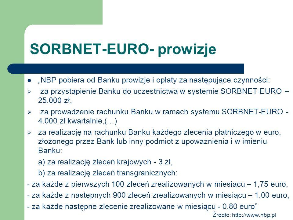 SORBNET-EURO- prowizje NBP pobiera od Banku prowizje i opłaty za następujące czynności: za przystąpienie Banku do uczestnictwa w systemie SORBNET-EURO