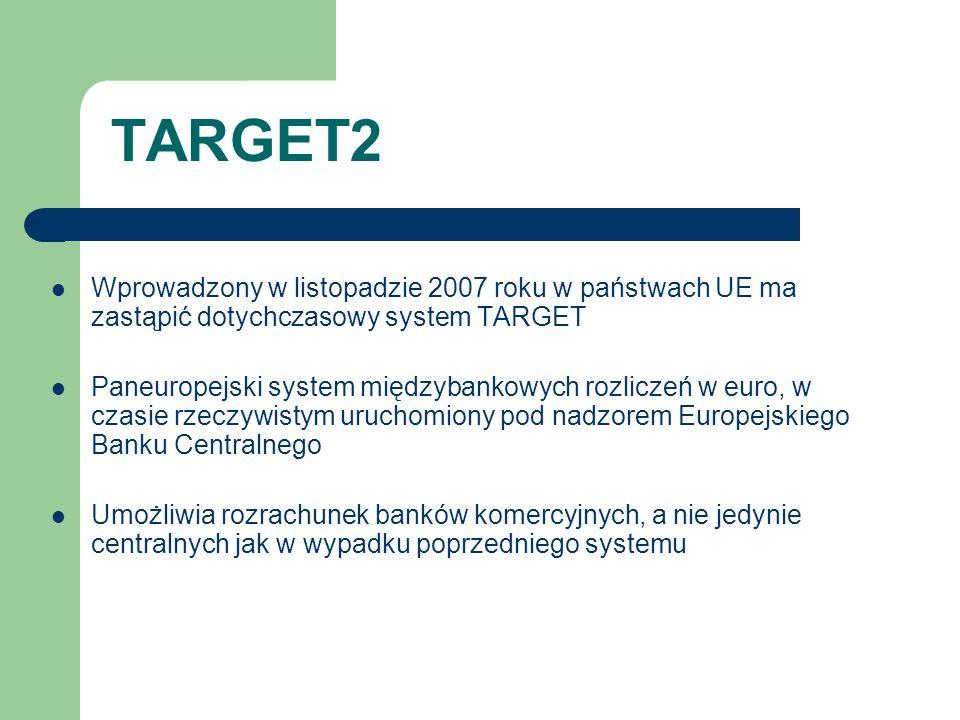 TARGET2 Wprowadzony w listopadzie 2007 roku w państwach UE ma zastąpić dotychczasowy system TARGET Paneuropejski system międzybankowych rozliczeń w eu