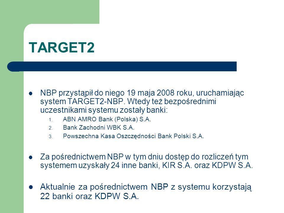 TARGET2 NBP przystąpił do niego 19 maja 2008 roku, uruchamiając system TARGET2-NBP. Wtedy też bezpośrednimi uczestnikami systemu zostały banki: 1. ABN