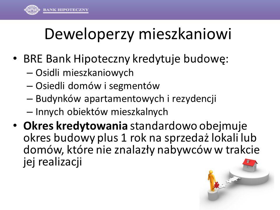 Deweloperzy mieszkaniowi BRE Bank Hipoteczny kredytuje budowę: – Osidli mieszkaniowych – Osiedli domów i segmentów – Budynków apartamentowych i rezyde