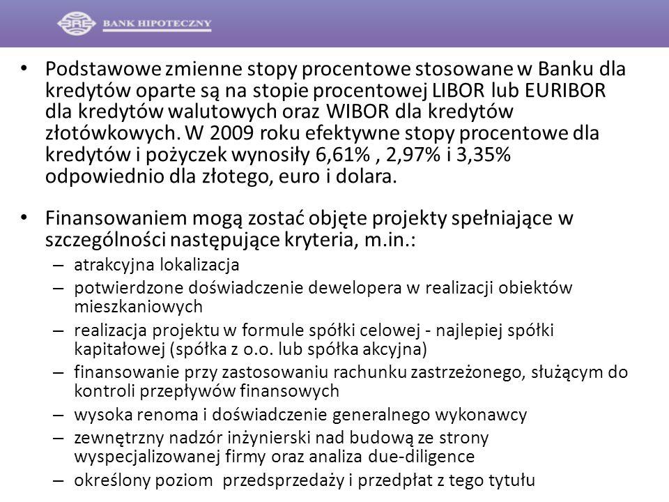 Podstawowe zmienne stopy procentowe stosowane w Banku dla kredytów oparte są na stopie procentowej LIBOR lub EURIBOR dla kredytów walutowych oraz WIBO