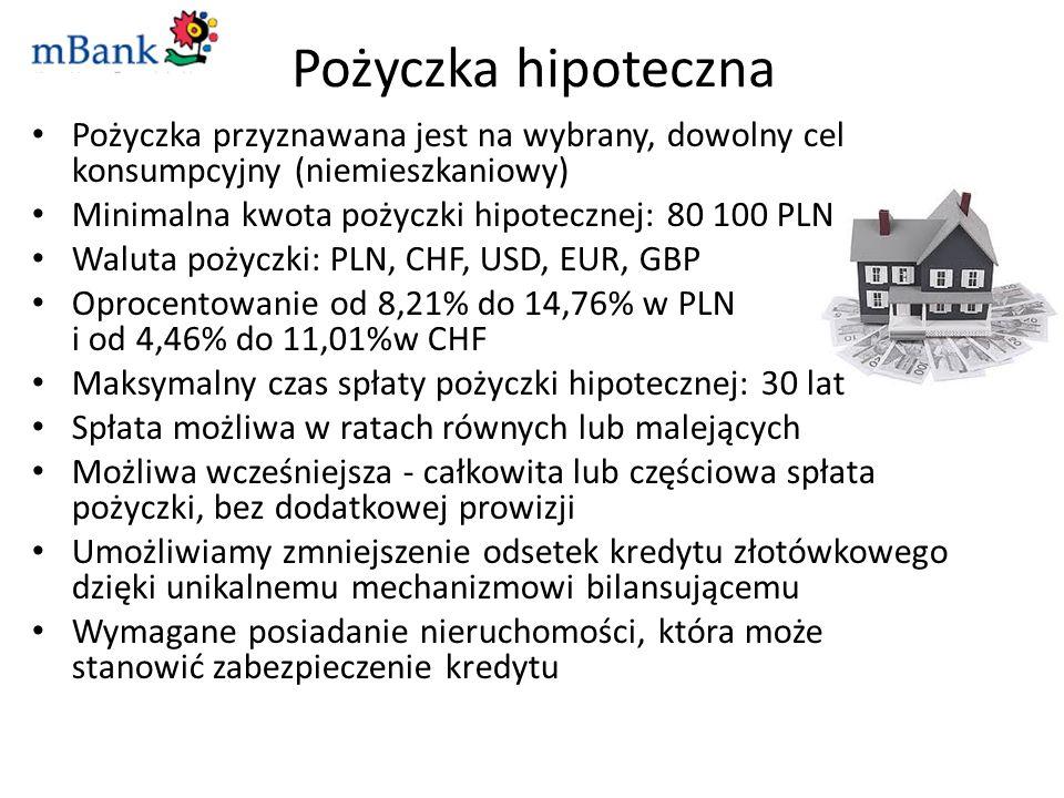 Pożyczka hipoteczna Pożyczka przyznawana jest na wybrany, dowolny cel konsumpcyjny (niemieszkaniowy) Minimalna kwota pożyczki hipotecznej: 80 100 PLN