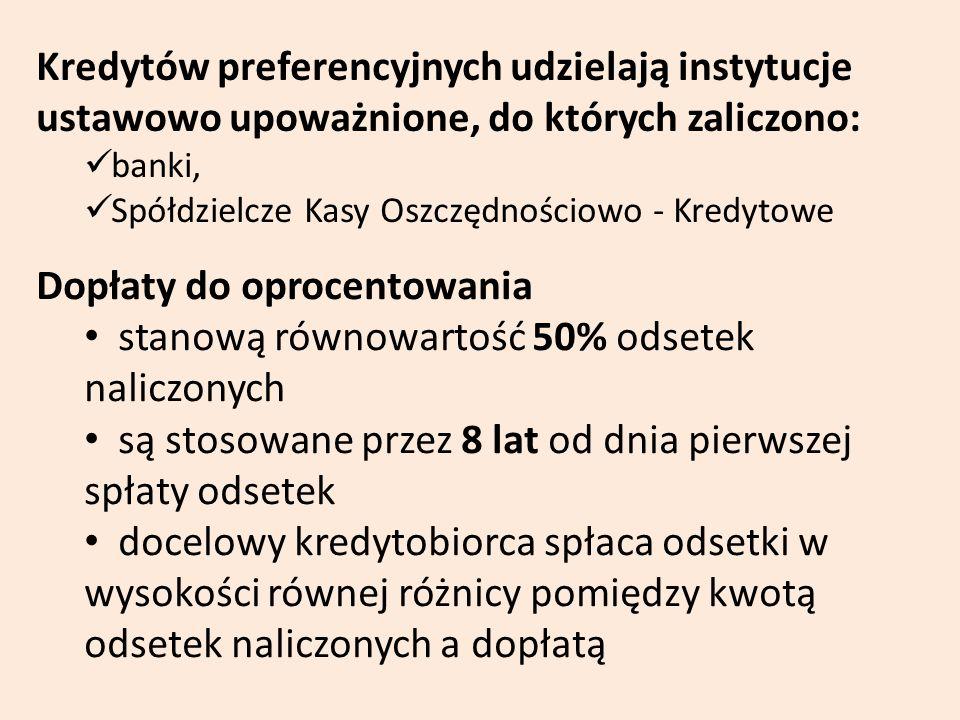 Kredytów preferencyjnych udzielają instytucje ustawowo upoważnione, do których zaliczono: banki, Spółdzielcze Kasy Oszczędnościowo - Kredytowe Dopłaty