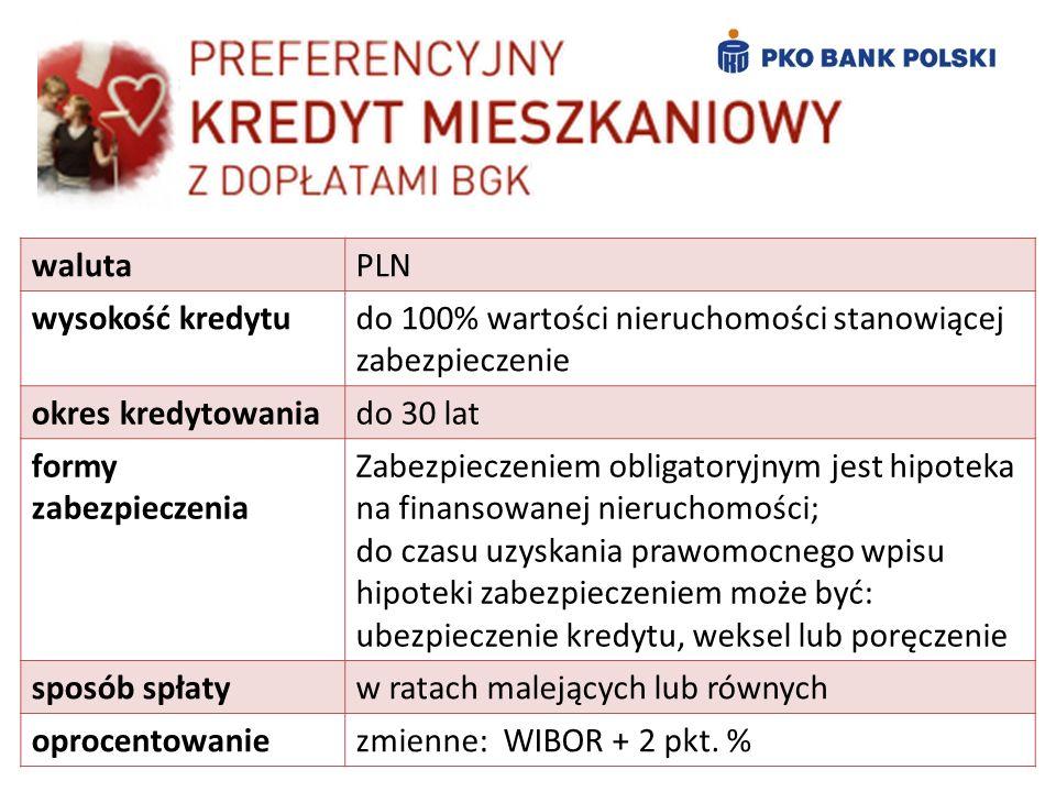 walutaPLN wysokość kredytudo 100% wartości nieruchomości stanowiącej zabezpieczenie okres kredytowaniado 30 lat formy zabezpieczenia Zabezpieczeniem o