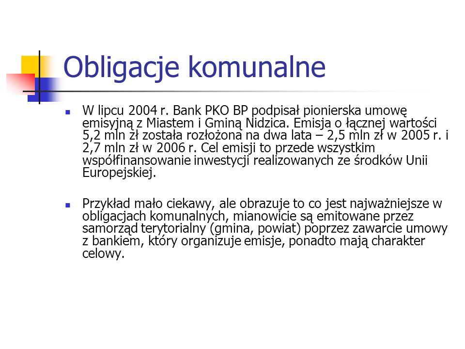 Obligacje komunalne W lipcu 2004 r. Bank PKO BP podpisał pionierska umowę emisyjną z Miastem i Gminą Nidzica. Emisja o łącznej wartości 5,2 mln zł zos