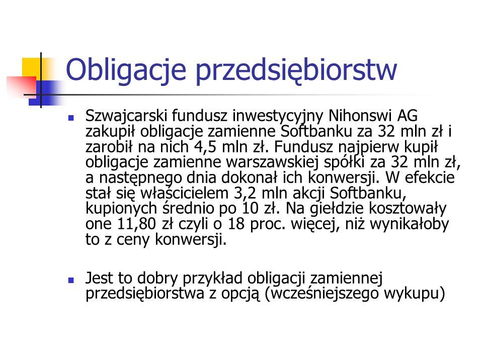 Obligacje przedsiębiorstw Szwajcarski fundusz inwestycyjny Nihonswi AG zakupił obligacje zamienne Softbanku za 32 mln zł i zarobił na nich 4,5 mln zł.