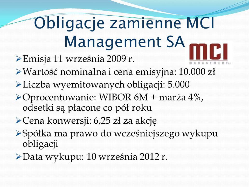 Obligacje zamienne MCI Management SA Emisja 11 września 2009 r. Wartość nominalna i cena emisyjna: 10.000 zł Liczba wyemitowanych obligacji: 5.000 Opr