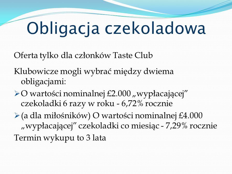Obligacja czekoladowa Oferta tylko dla członków Taste Club Klubowicze mogli wybrać między dwiema obligacjami: O wartości nominalnej £2.000 wypłacające