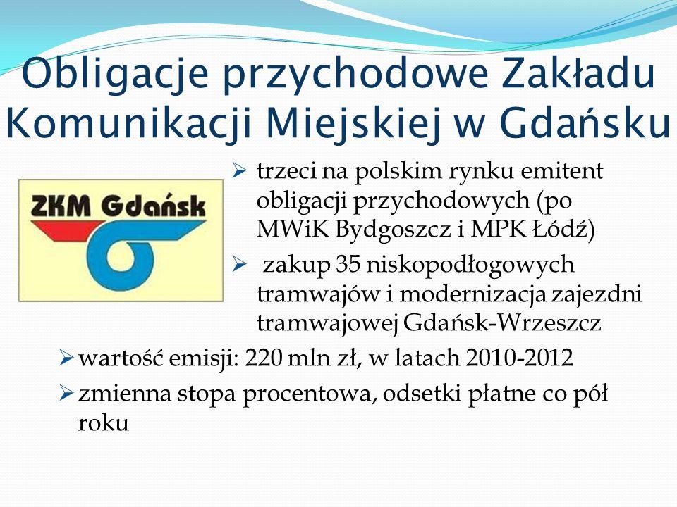 Obligacje przychodowe Zak ł adu Komunikacji Miejskiej w Gda ń sku trzeci na polskim rynku emitent obligacji przychodowych (po MWiK Bydgoszcz i MPK Łód