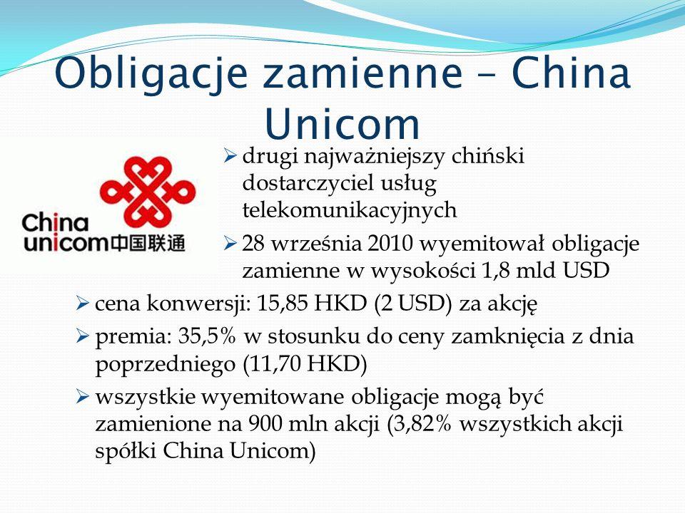 Obligacje zamienne – China Unicom drugi najważniejszy chiński dostarczyciel usług telekomunikacyjnych 28 września 2010 wyemitował obligacje zamienne w