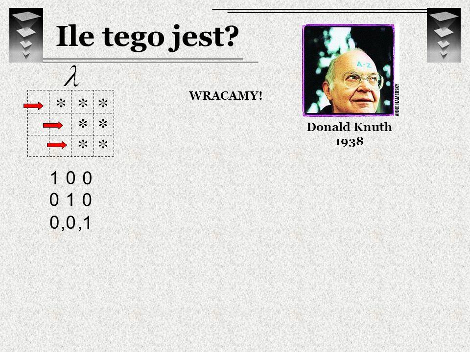 Ile tego jest? Donald Knuth 1938 WRACAMY! 1 0 0 0 1 0 0 0 1,,