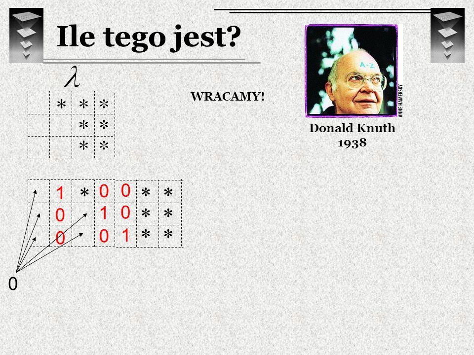 0 0 1 Ile tego jest? Donald Knuth 1938 WRACAMY! 1 0 0 0 1 0 0