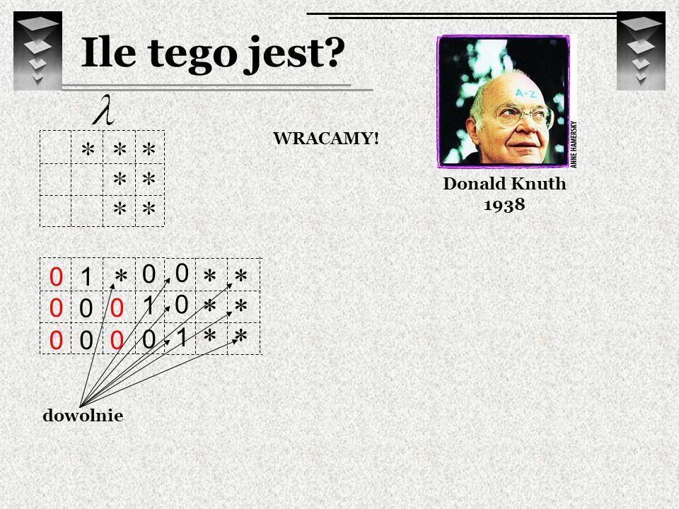 0 0 1 Ile tego jest? Donald Knuth 1938 WRACAMY! 1 0 0 0 1 0 0 0 0 0 0 dowolnie