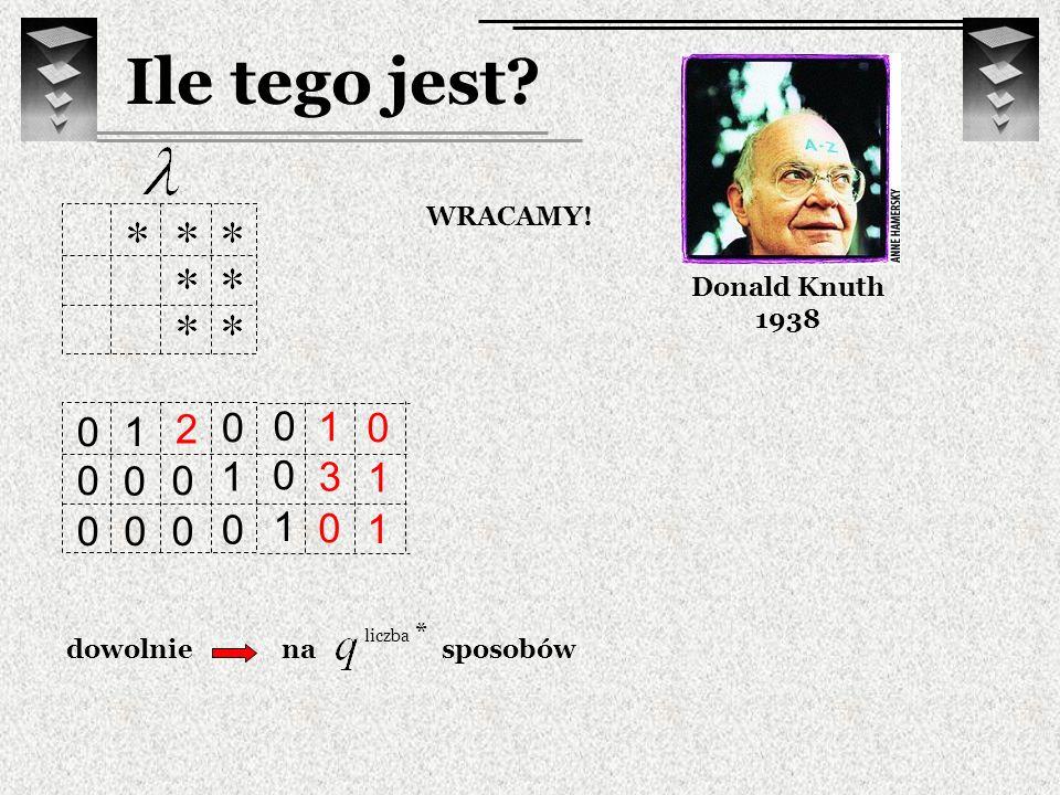 3 0 1 Ile tego jest? Donald Knuth 1938 WRACAMY! 1 0 0 0 1 0 0 0 1 0 0 0 0 0 dowolnie 1 1 0 2 nasposobów liczba *