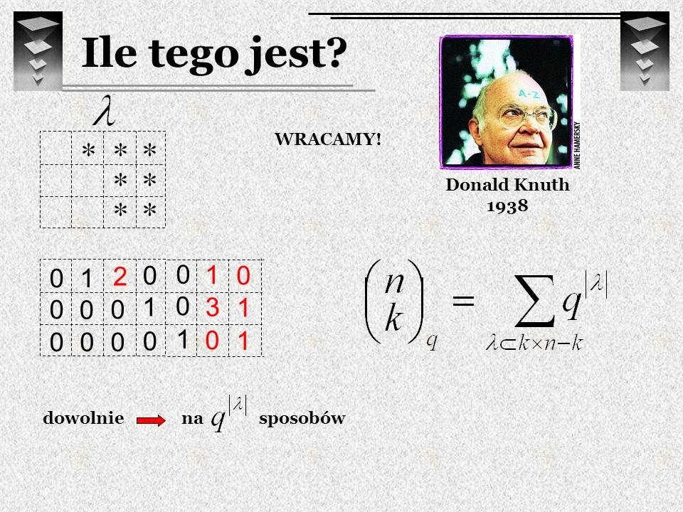 3 0 1 Ile tego jest? Donald Knuth 1938 WRACAMY! 1 0 0 0 1 0 0 0 1 0 0 0 0 0 dowolnie 1 1 0 2 nasposobów