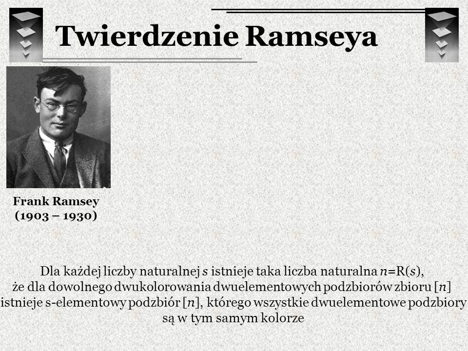 Twierdzenie Ramseya Frank Ramsey (1903 – 1930) Dla każdej liczby naturalnej s istnieje taka liczba naturalna n=R(s), że dla dowolnego dwukolorowania d